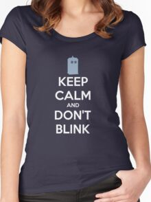 Keep Calm And Don't Blink ver.Tardisblue Women's Fitted Scoop T-Shirt