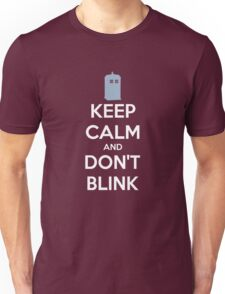 Keep Calm And Don't Blink ver.Tardisblue Unisex T-Shirt