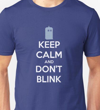 Keep Calm And Don't Blink ver.Tardisblue Unisex T-Shirt
