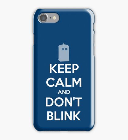 Keep Calm And Don't Blink ver.Tardisblue iPhone Case/Skin