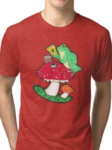 Bookish Frog in color Tri-blend T-Shirt