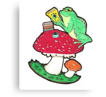 Bookish Frog in color Canvas Print