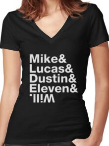 mike lucas dustin eleven will upside down Women's Fitted V-Neck T-Shirt