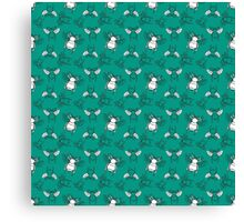 Teal Bees Pattern Canvas Print
