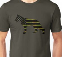 German Shepherd: Camo American Flag Unisex T-Shirt