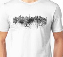 Melbourne skyline in black watercolor on white background Unisex T-Shirt
