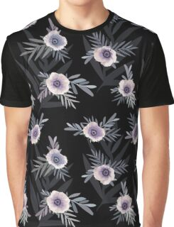 Seamless floral pattern with anemone flowers, romantic print black background Graphic T-Shirt