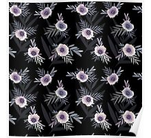 Seamless floral pattern with anemone flowers, romantic print black background Poster