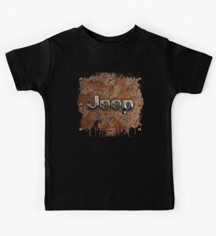Rustic Jeep with chrome typograph Kids Tee