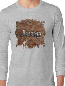 Rustic Jeep with chrome typograph Long Sleeve T-Shirt