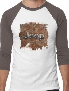 Rustic Jeep with chrome typograph Men's Baseball ¾ T-Shirt
