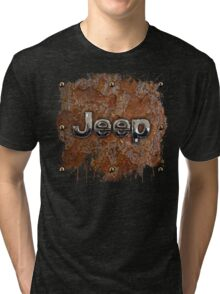 Rustic Jeep with chrome typograph Tri-blend T-Shirt
