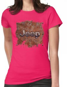 Rustic Jeep with chrome typograph Womens Fitted T-Shirt