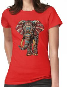 Ornate Elephant (Color Version) Womens Fitted T-Shirt