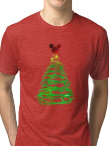 Christmas Mouse Head Inspired Silhouette Tri-blend T-Shirt