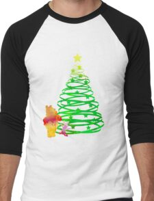 Christmas Bear and Pig Inspired Silhouette Men's Baseball ¾ T-Shirt