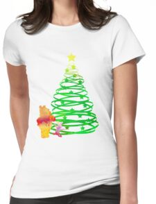 Christmas Bear and Pig Inspired Silhouette Womens Fitted T-Shirt
