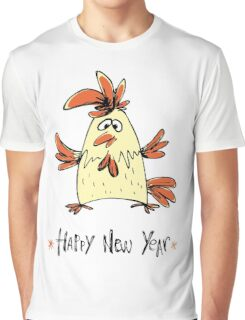 Hand drawn funny rooster Graphic T-Shirt