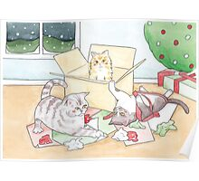 Christmas Cats // Watercolour illustration of cats playing with wrapping paper & boxes Poster