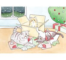 Christmas Cats // Watercolour illustration of cats playing with wrapping paper & boxes Photographic Print