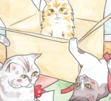 Christmas Cats // Watercolour illustration of cats playing with wrapping paper & boxes Sticker