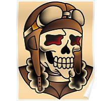 Kamikaze Fighter Pilot Skull Poster