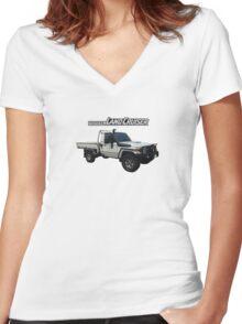 Toyota Landcruiser 79 Single Cab Women's Fitted V-Neck T-Shirt