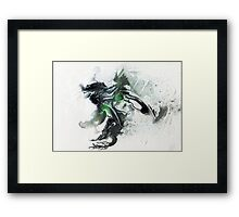 Green and black Abstract (organic) Framed Print