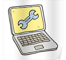 cartoon laptop computer with fix screen Poster