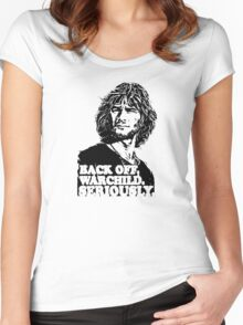 back off warchild seriously Women's Fitted Scoop T-Shirt