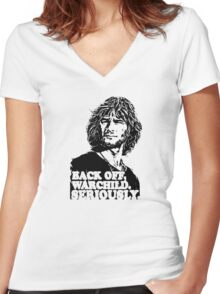 back off warchild seriously Women's Fitted V-Neck T-Shirt