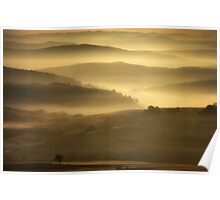 Fantasy meadow with fog in the morning Poster