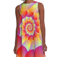 Ball Spiral in Red Yellow and Orange A-Line Dress