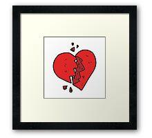 cartoon broken heart Framed Print