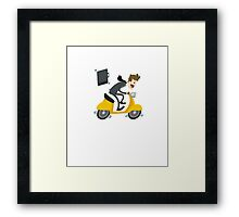 Business man Is Busy With Riding Bike Framed Print