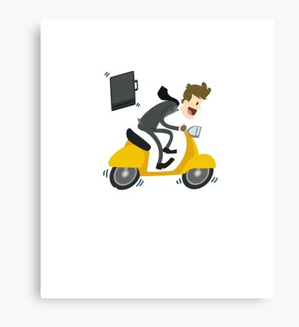Business man Is Busy With Riding Bike Canvas Print