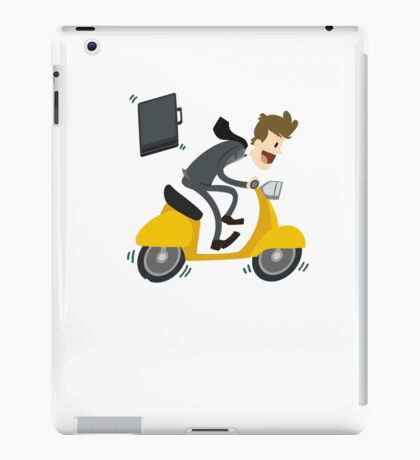 Business man Is Busy With Riding Bike iPad Case/Skin