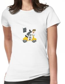 Business man Is Busy With Riding Bike Womens Fitted T-Shirt