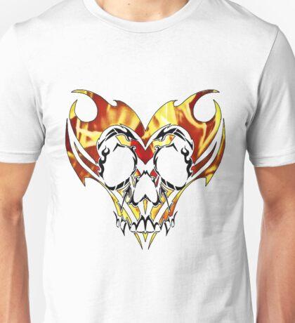 flaming tribal skull Unisex T-Shirt
