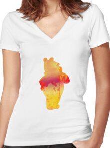 Bear Inspired Silhouette Women's Fitted V-Neck T-Shirt