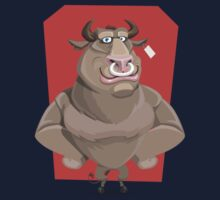 Angry Bull with Nose Piercing Vector Artwork One Piece - Long Sleeve