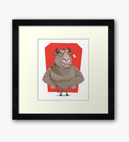Angry Bull with Nose Piercing Vector Artwork Framed Print
