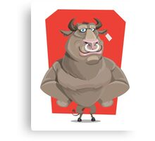 Angry Bull with Nose Piercing Vector Artwork Canvas Print
