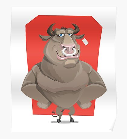 Angry Bull with Nose Piercing Vector Artwork Poster
