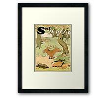 Deer Running in the Forest Illustrated Framed Print