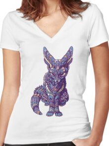Fennec Fox (Color Version) Women's Fitted V-Neck T-Shirt