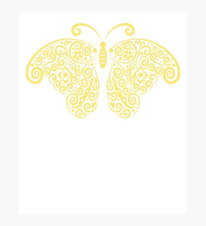 Cool Golden Butterfly Floral Pattern Artwork  Photographic Print
