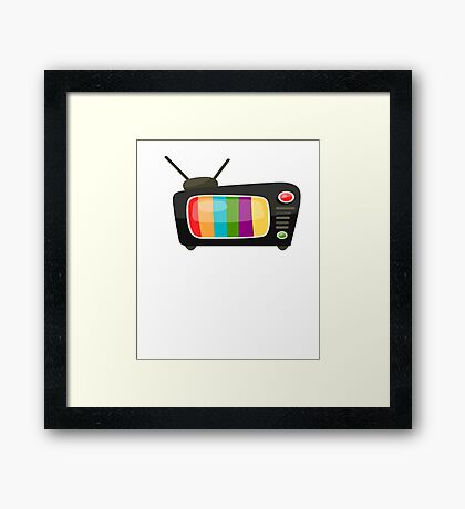 Colourful Vintage Tv Vector Graphic Framed Print