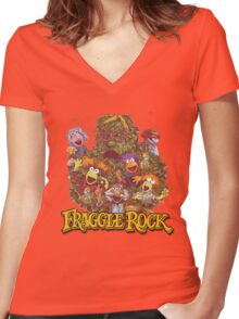 Fraggle Rock Retro Design Women's Fitted V-Neck T-Shirt