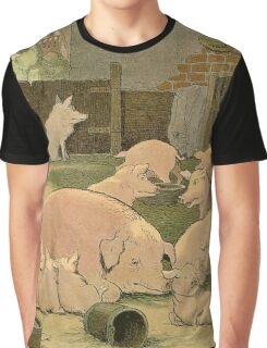 Pig and Piglets in the Barn Graphic T-Shirt